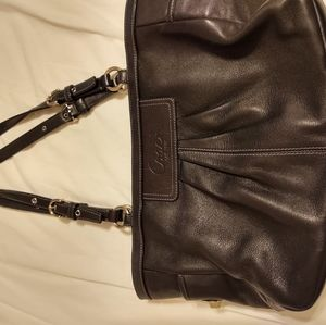 Coach Ring Black Leather Shoulder Bag